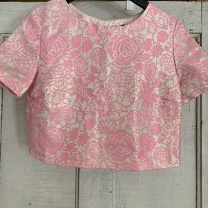 Pink and Silver Jacquard Crop Top